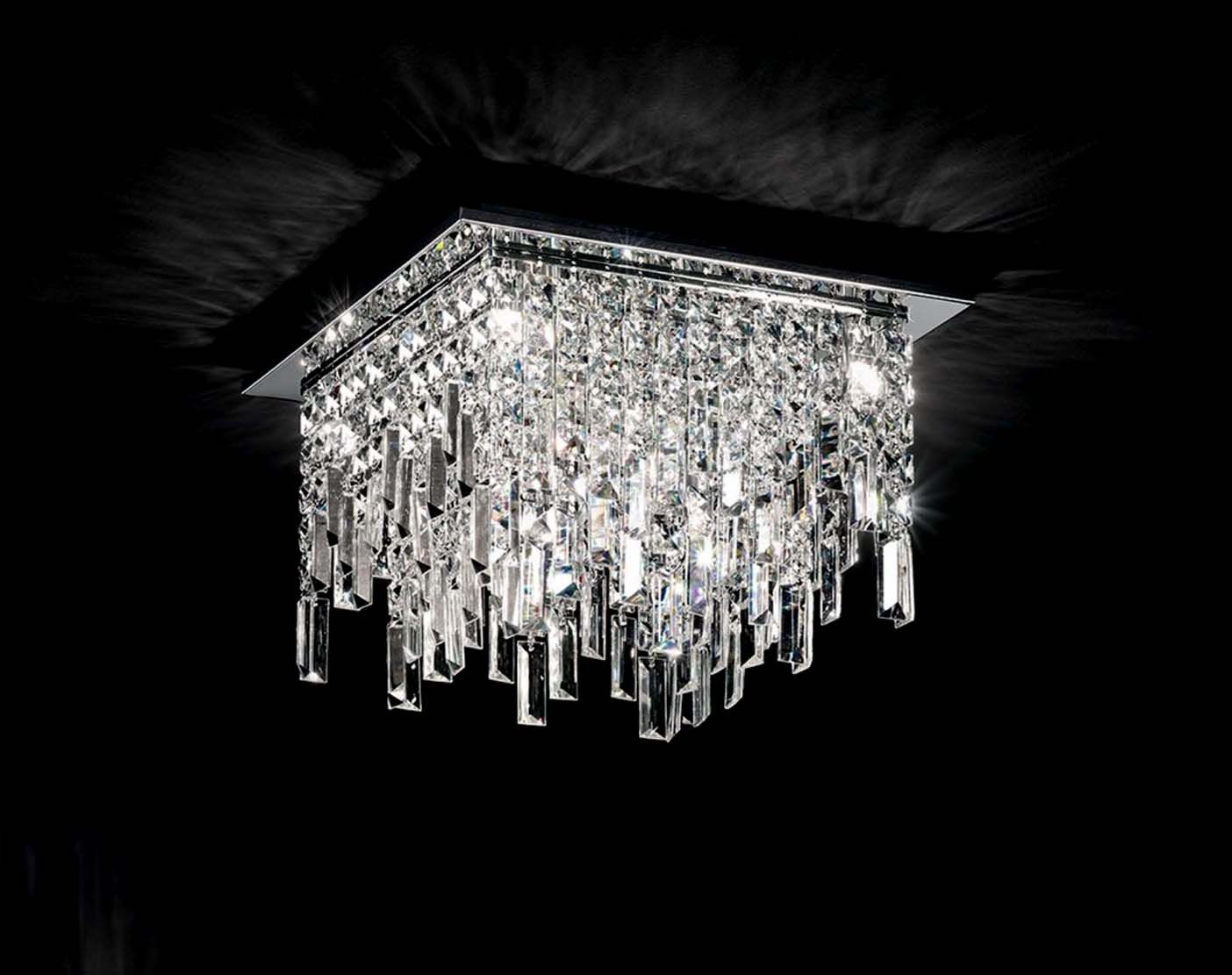 Plafoniera Tessuto Quadrata : Plafoniera moderna luci affra frangia design swarovsky