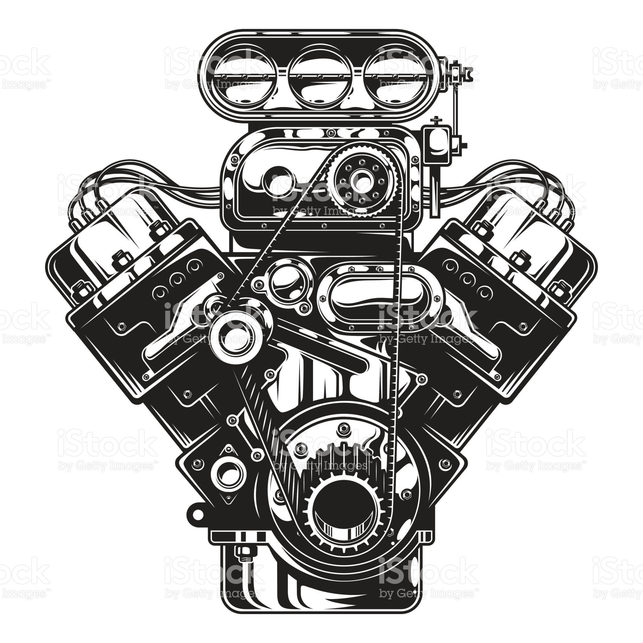 Isolated monochrome illustration of car engine on white background ...