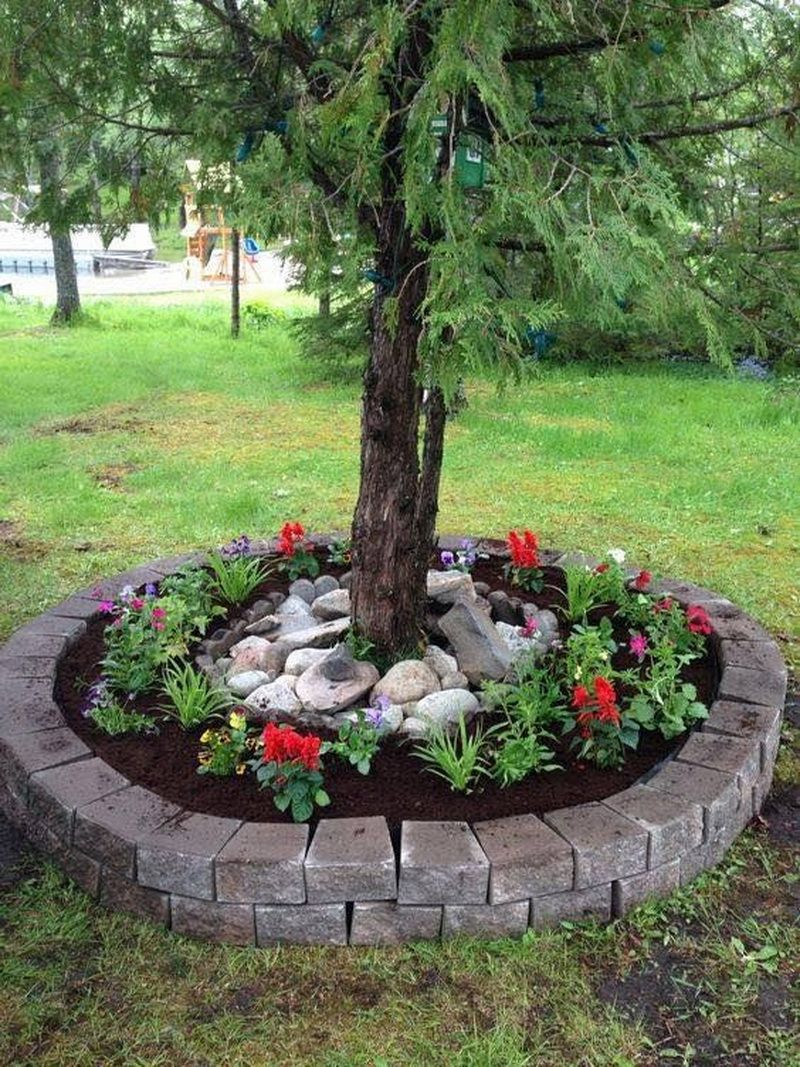 diy tree ring planter ideas to beautify your outdoor on beautiful front yard rock n flowers garden landscaping ideas how to create it id=18031