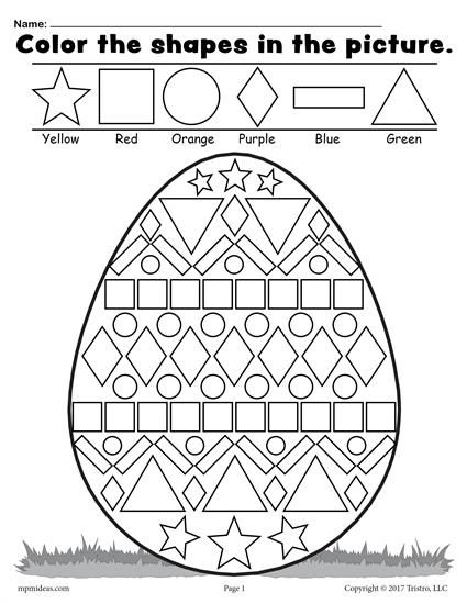 Color The Shapes In Easter Egg Worksheet