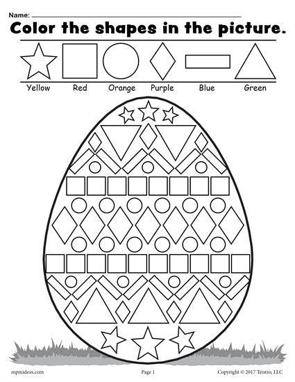 Free Easter Egg Shapes Worksheet Coloring Page Easter