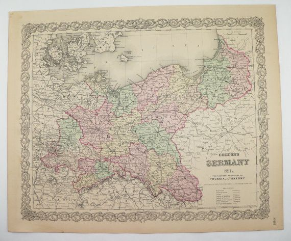 1881 east germany map 1881 colton map berlin germany prussia saxony vintage map german history buff gift germany wedding gift for couple available from