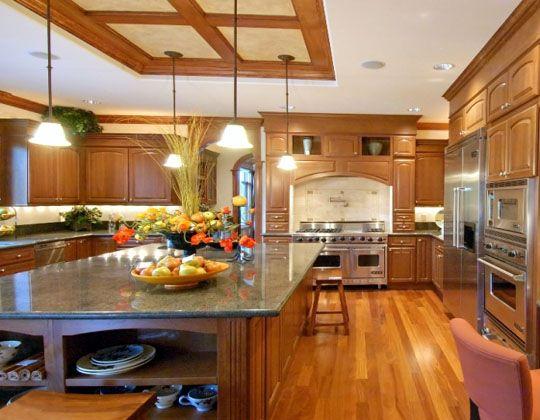 Menard Kitchen Cabinets With Center Island And Hanging Lamp Beautiful Kitchen Cabinets Menards Kitchen Kitchen Improvements