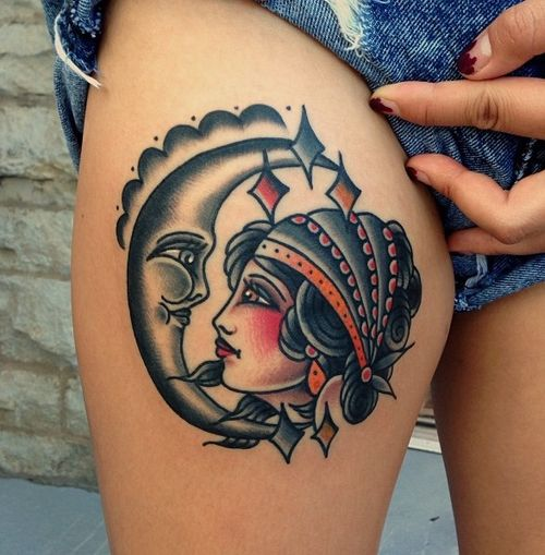 Looking for inspiration for my next tattoo i 39 m itchin for Traditional moon tattoo