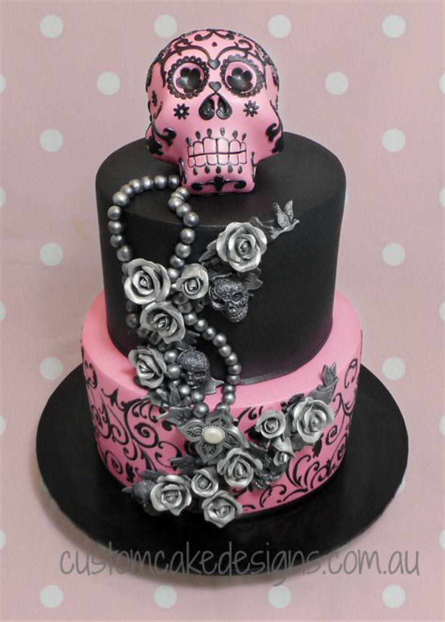 Strange Sugar Skull 21St Cake With Images Sugar Skull Cakes Skull Funny Birthday Cards Online Eattedamsfinfo