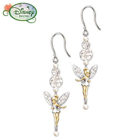 Disney/'s Tinker Bell Drop Earrings in 10K Gold