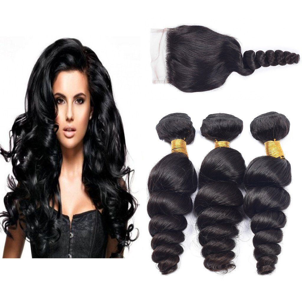 Ali Amy Brazilian Virgin Hair Loose Wave Free Part Lace Closure With 3 Human Bundles 8 10 12 Unprocessed Remy Weave