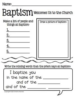 Baptism Writing Response Page For Grades K 1 Faith Formation