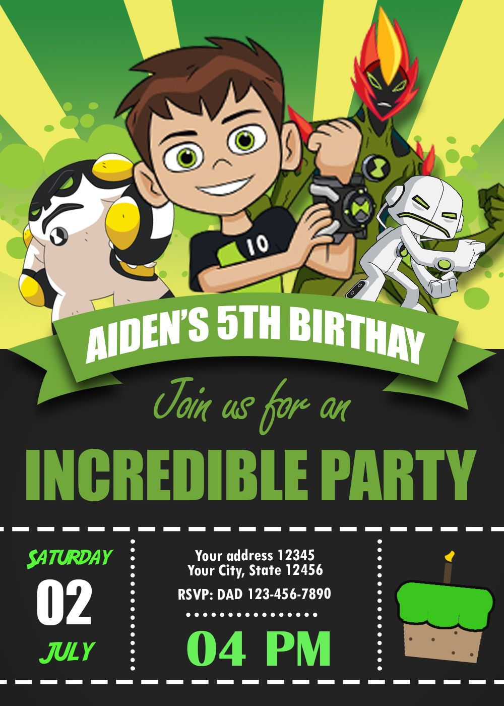 ben 10 birthday invitation party invite custom digital printable