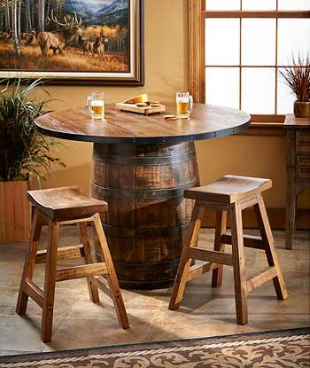 Whiskey Barrel Pub Table U0026 Stools : Wild Wings