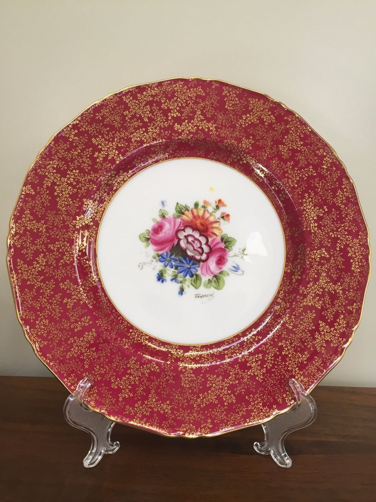 (12) Royal Worcester Hand Painted Dinner Plates Ruby \u0026 Gold Signed Townsend & 12) Royal Worcester Hand Painted Dinner Plates Ruby \u0026 Gold Signed ...
