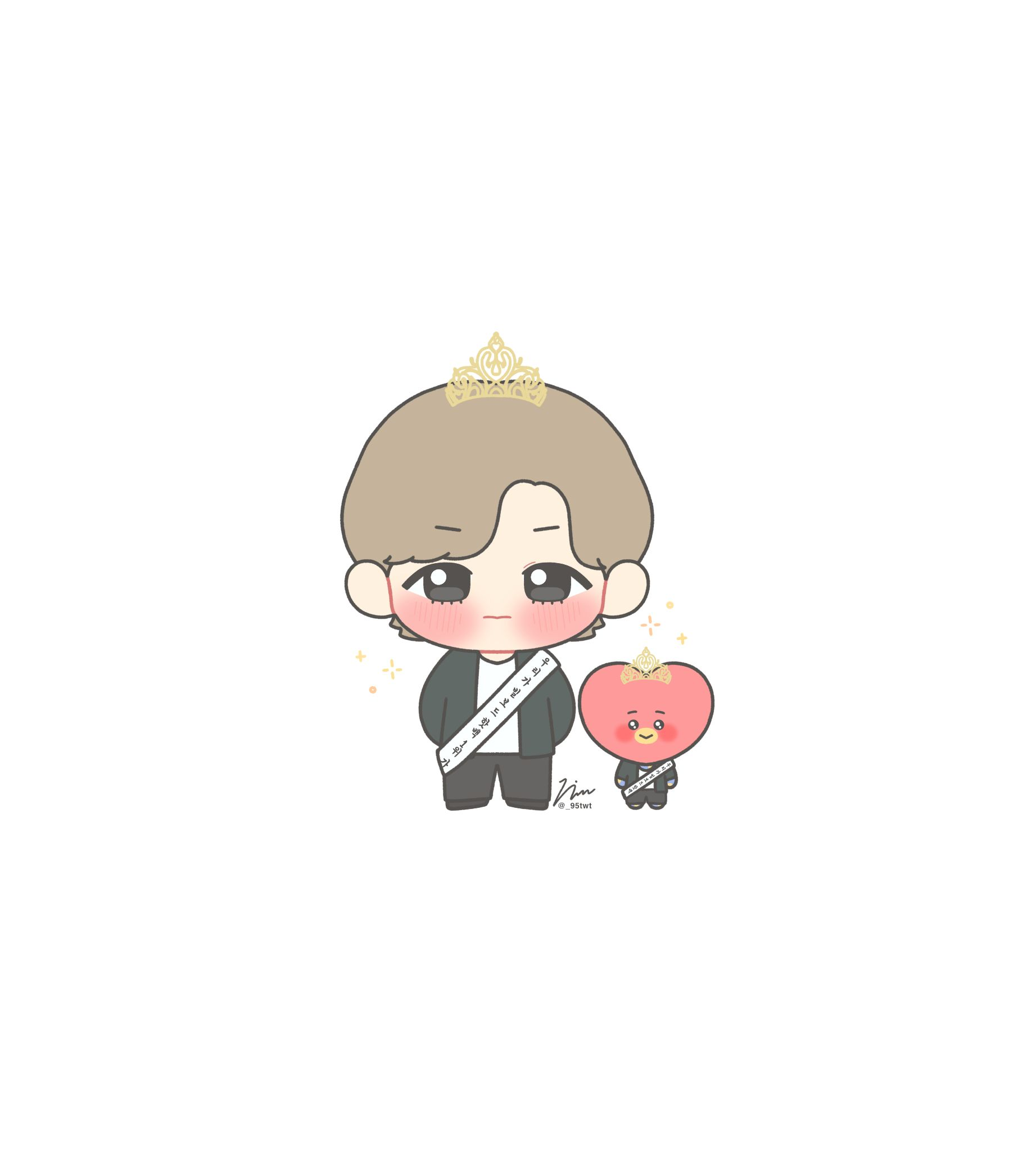 뷩 On Twitter Cute Cartoon Wallpapers Taehyung Fanart Bts Chibi