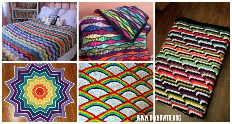 Crochet Rainbow Blanket Free Patterns   Patrón libre, Bebé de ...