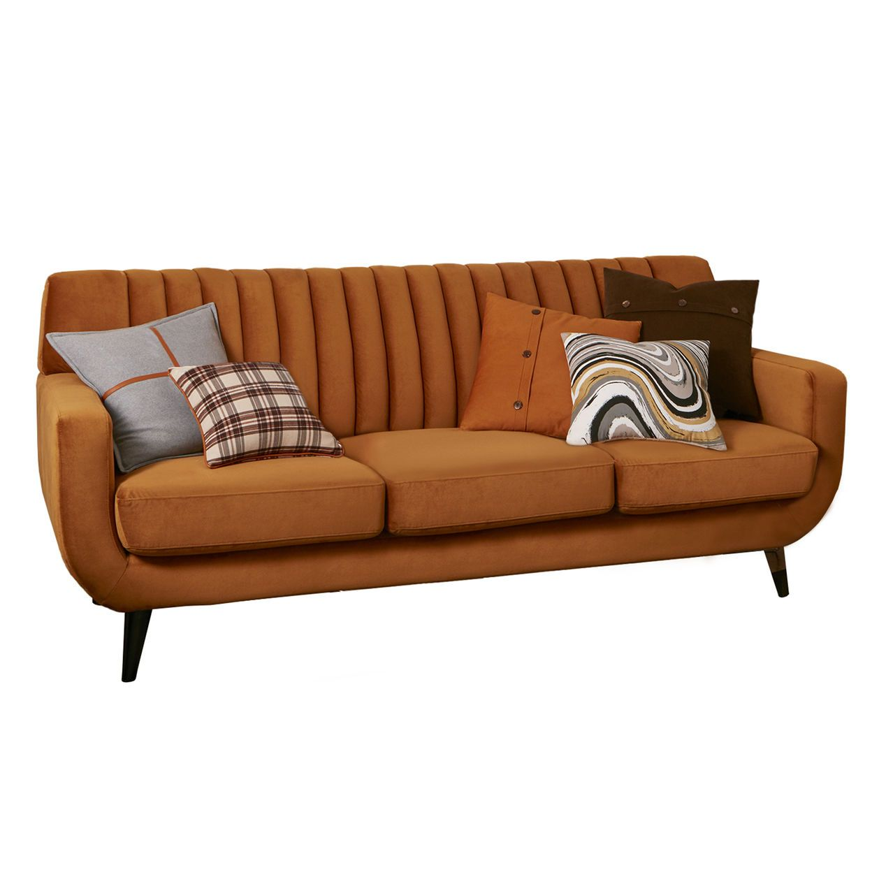 hedgewick burnt orange sofa - at home | retro raves! | pinterest