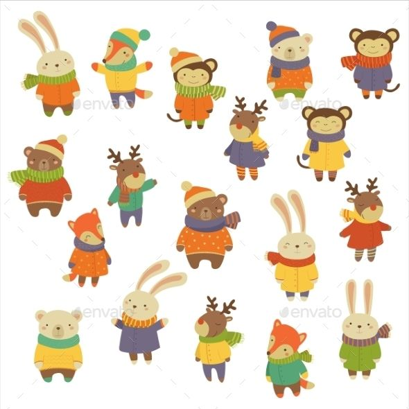 Animals Wearing Warm Clothes Warm Outfits Animals Character Design