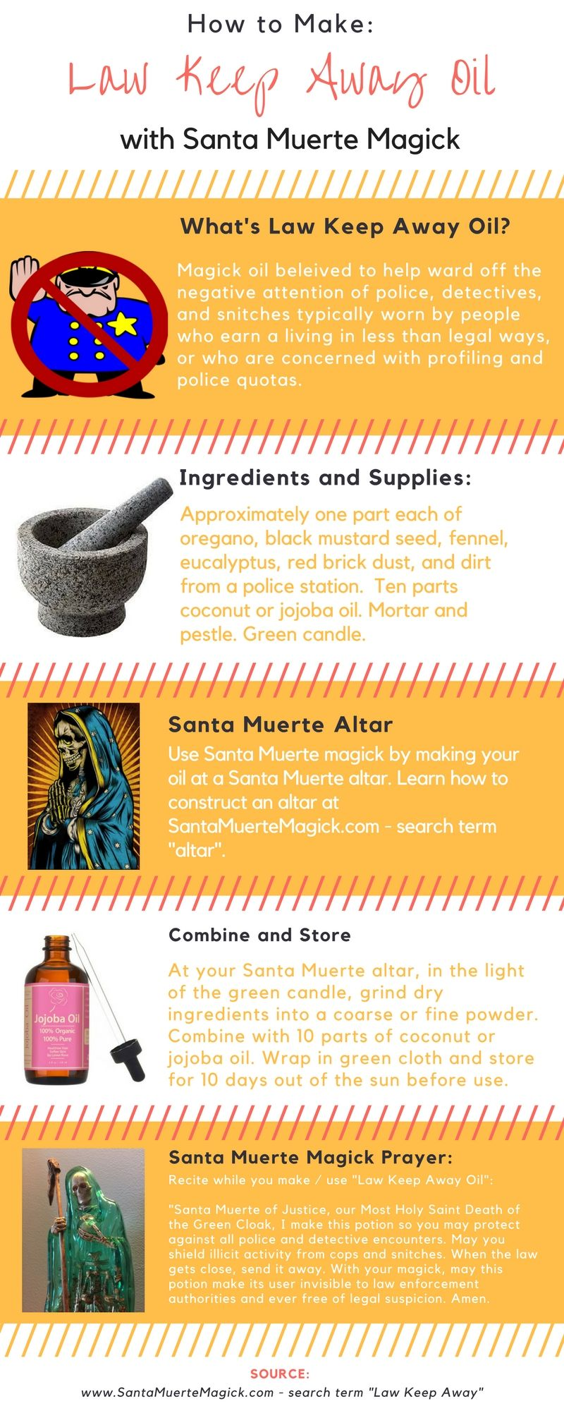 How to Make Law Keep Away Oil with Santa Muerte Magick