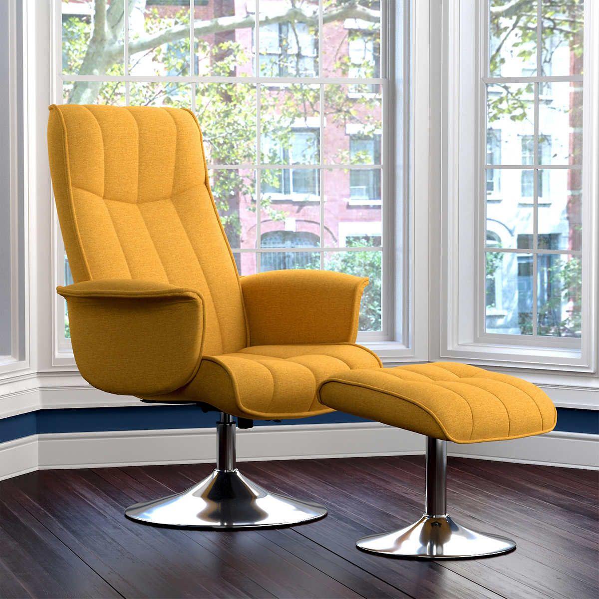 Stella Rocker Recliner and Ottoman Mustard Yellow Home