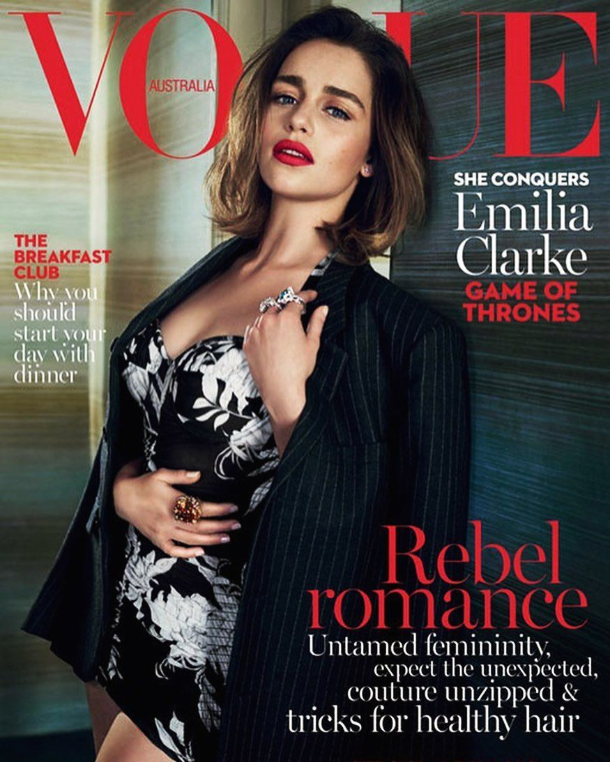 Emilia Clarke From Game Of A Thrones For Vogueaustralia Cover Shot At Hotel 9 This Location Vogue Australia Vogue Magazine Covers Fashion Magazine Cover