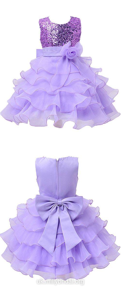 Tea-length Flower Girl Dresses Purple, A-line Tutus Dresses Scoop ...