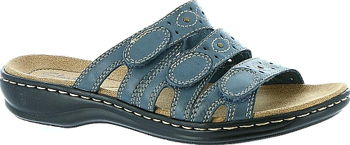 2e0c3505eaf Clarks Leisa Cacti Women s Blue Sandal. Eye-catching studs and cutouts add  season-right style to Clarks  leather slide sandal. Leather upper.