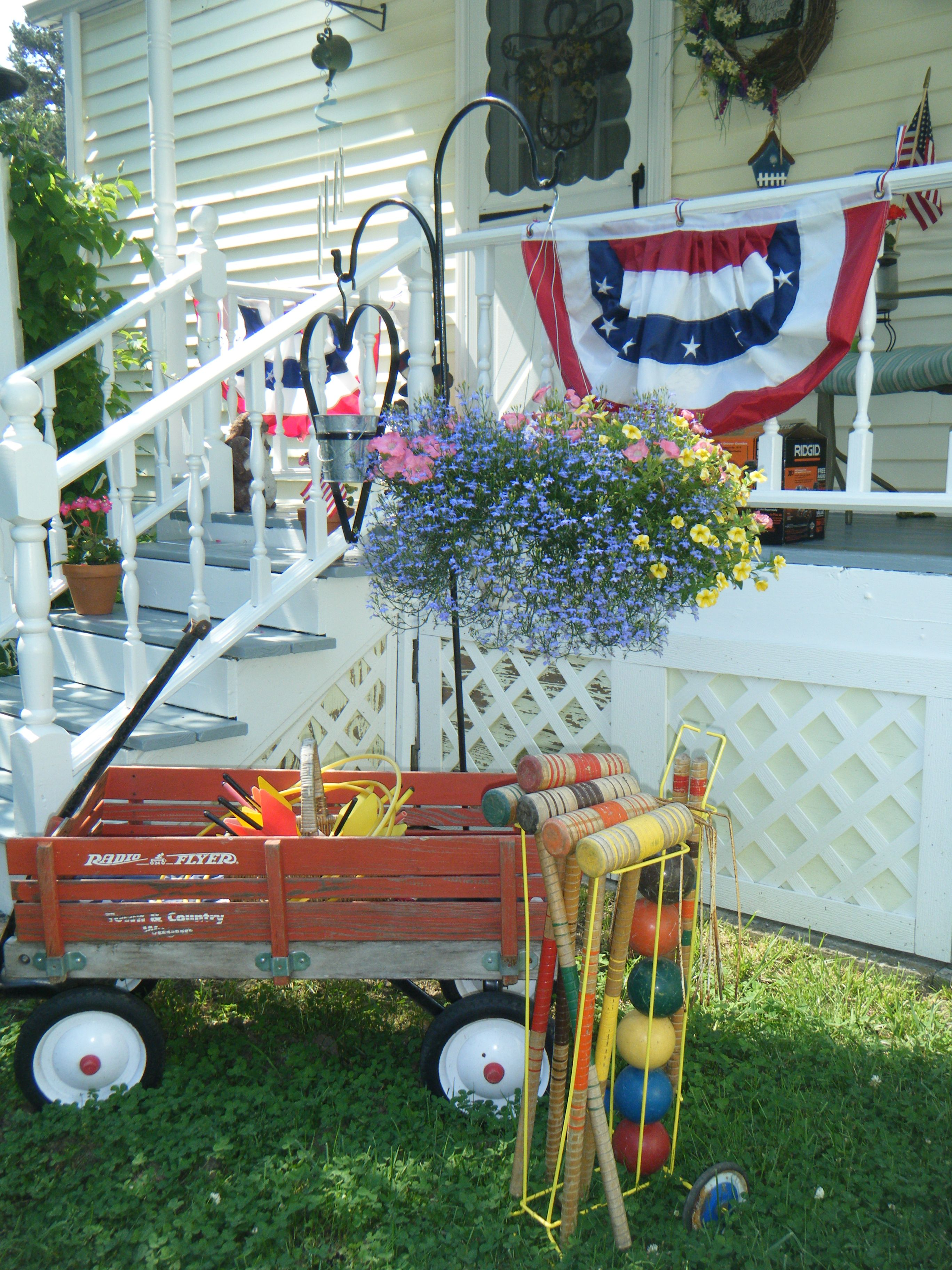 My kids old wagon   and vintage yard games..