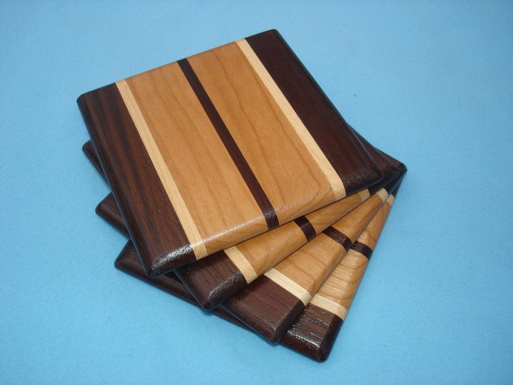 Wood Coasters Walnut Maple Cherry Small Woodworking Projects