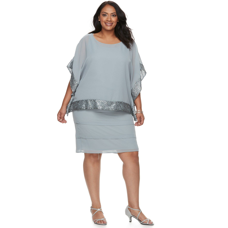Plus Size Le Bos Embellished Trim Dress & Jacket Set ...