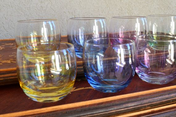 Vintage Roly Poly Glass Set of 8 In Iridescent by silkcreekgallery, $27.50