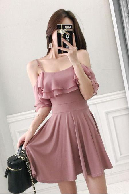 Charming Off the Shoulder Short Homecoming Dress, Cute Short Graduation Dress N2002