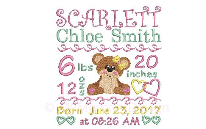 Personalised Birth Announcement Machine Embroidery Design - Subway