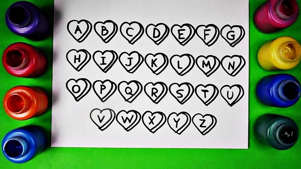 Drawing Alphabet Hearts Coloring Page Diy Abc Coloring Page Heart Coloring Pages Abc Coloring Pages Abc Coloring