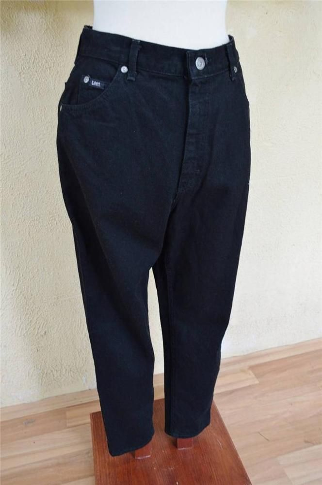 Lee Relaxed Fit Denim Classic Rise Tapered Leg Mom Jeans 14P Black Comfy Fun NEW #Lee #Relaxedtaperedleg