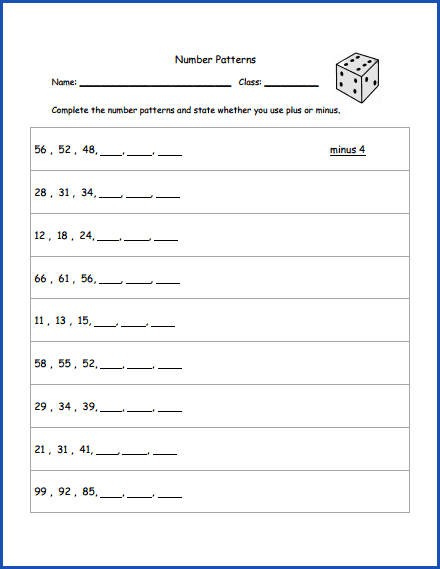 Math Number Patterns Worksheet Printables Worksheets For Kids Pattern Worksheet Number Patterns Worksheets Math Numbers