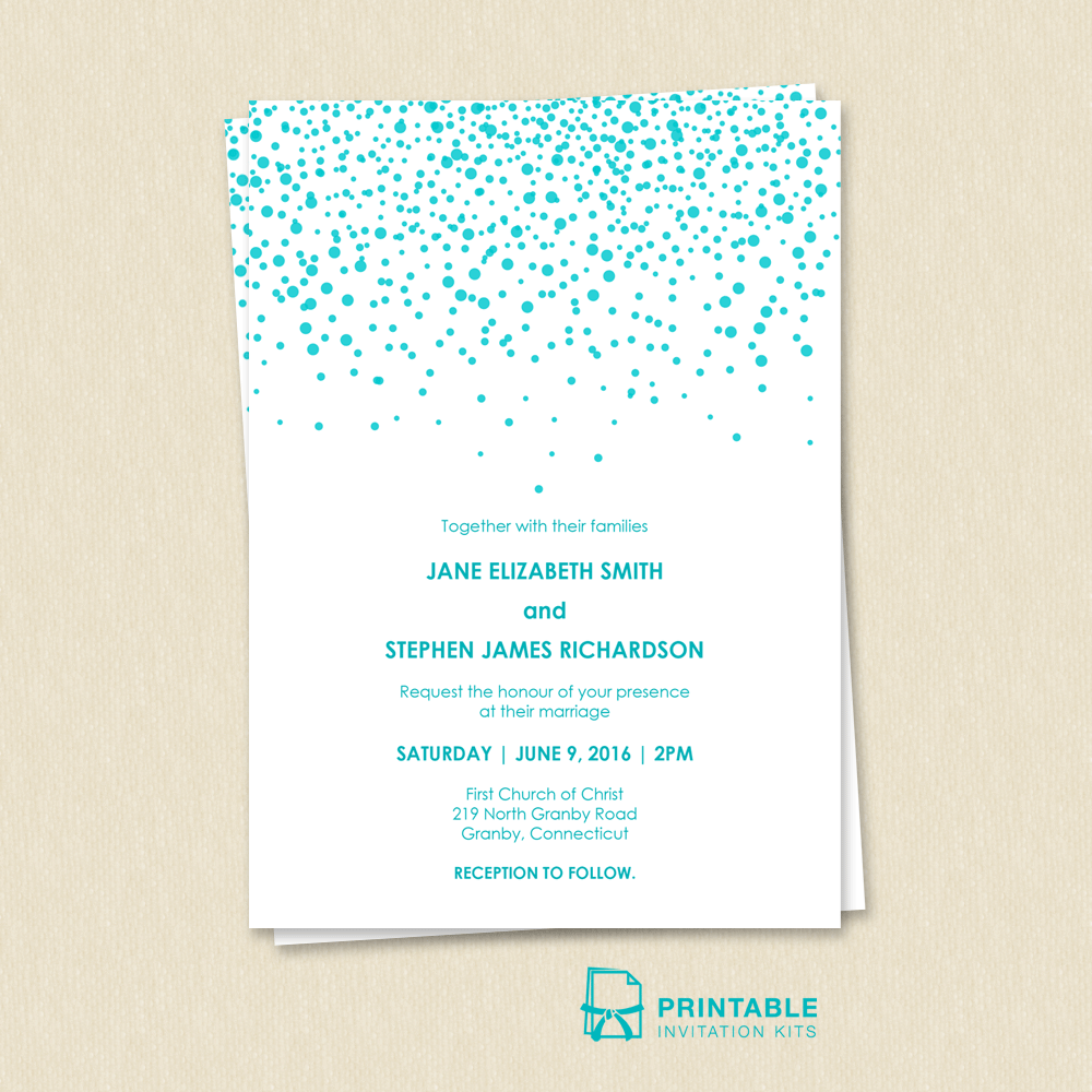 Free PDF Download. Modern Sprinkles Wedding Invitation. Easy to edit ...