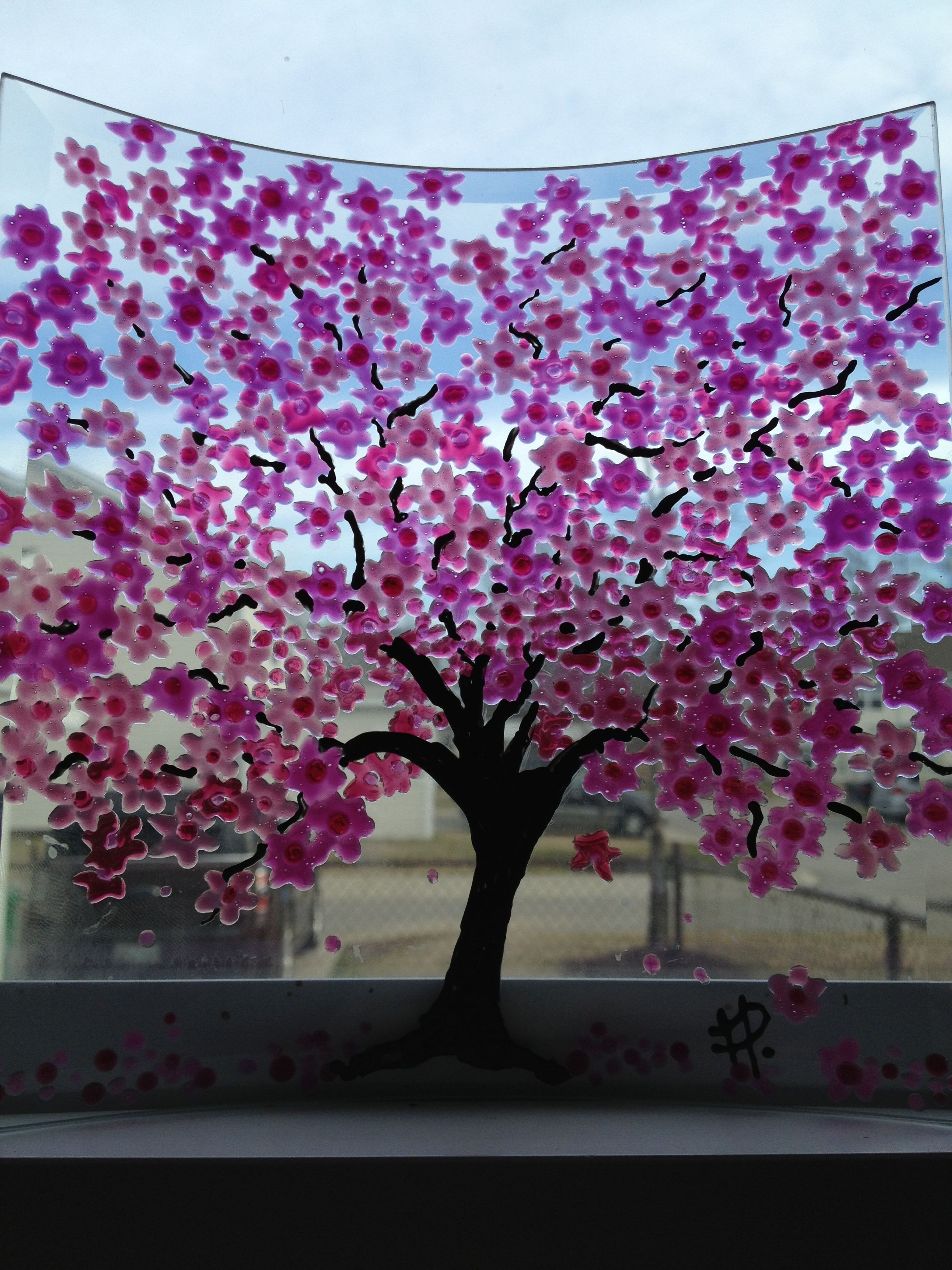 Curved Cherry Blossom Tree Fused Glass Glass Painting Blossom Trees