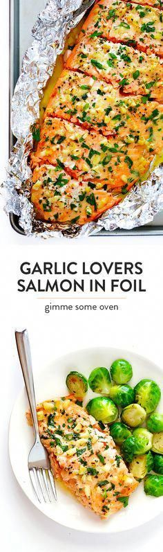 This Garlic Lovers Salmon In Foil recipe only takes a few minutes to prep, it's made with a SUPER de...