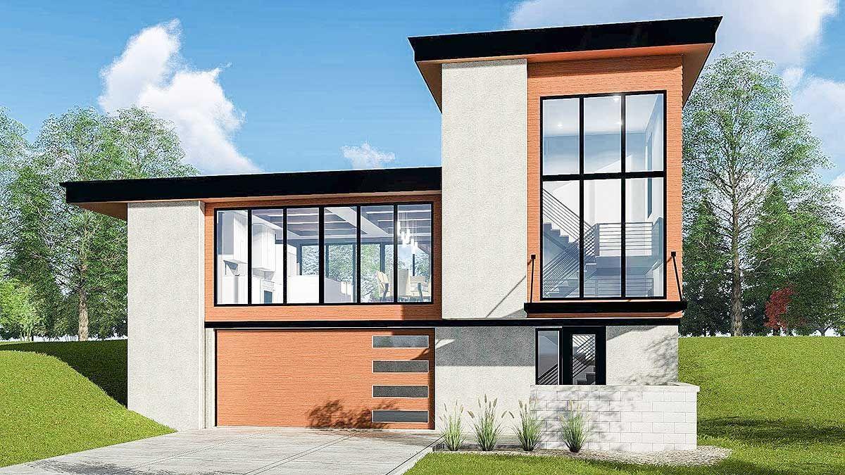 Plan 62726dj Striking Modern House Plan With Courtyard And Drive