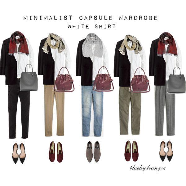 Minimalist Wardrobe - Fall 2015 - White Shirt by bluehydrangea on Polyvore featuring J.Crew, Madewell, Boden, Zara, Rêve D'un Jour, Banana Republic, Roberto Cavalli, SEVENTY, Lost