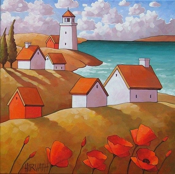 Original painting abstract folk art lighthouse village for Modern house 18x18
