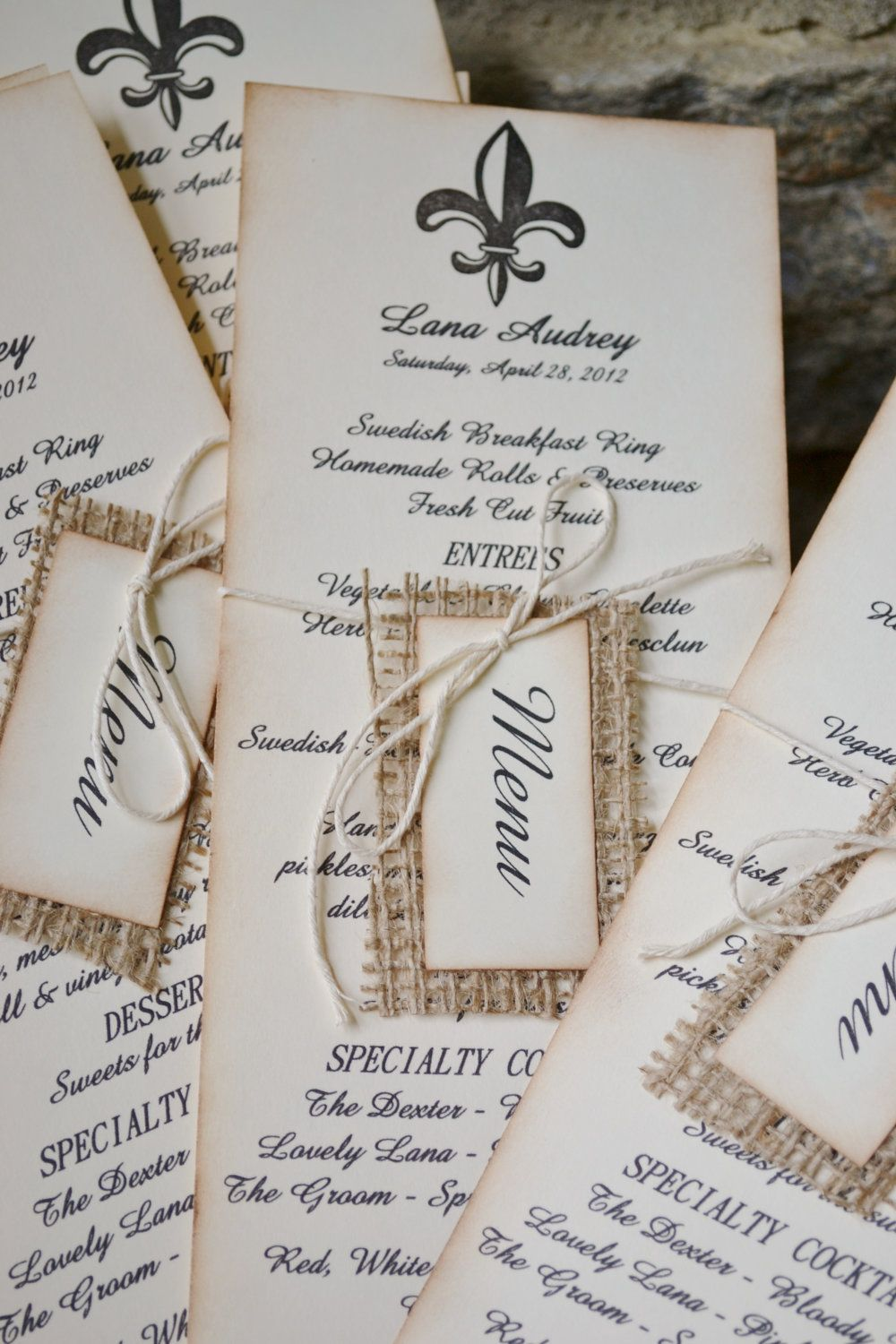 Vintage style FRENCH inspired BURLAP wedding MENU by frenchcountry ...