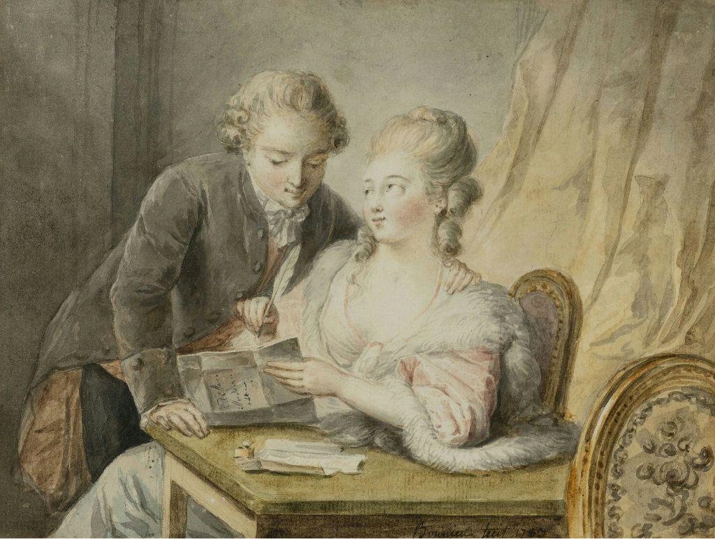 Michel Honoré Bonnieu 1740 1814 A Gentleman with a Lady Writing a