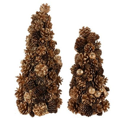 12 and 16 Shimmering Forest Pinecone Trees