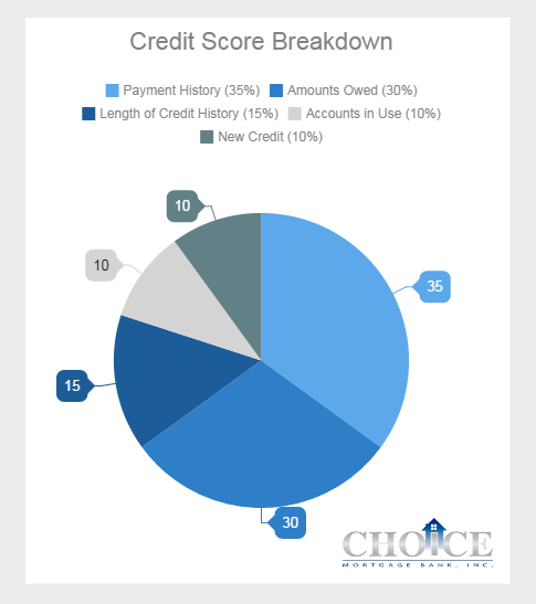 Do you know what goes into a typical credit score? #ChoiceMtgBank #CreditScore