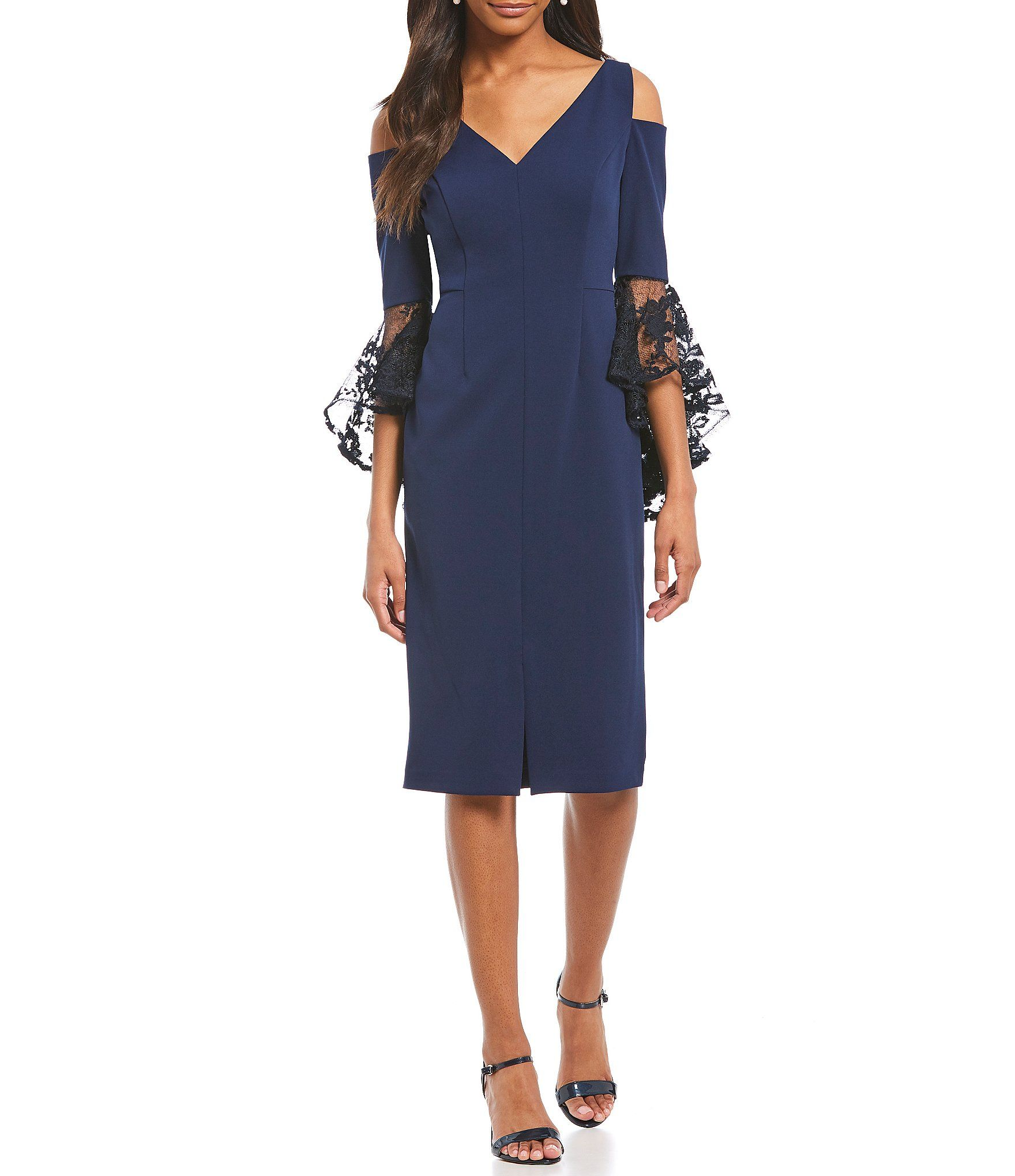 b1b7d073428 Shop for Maggy London Lace Cascade Bell Sleeve Cold Shoulder Sheath Dress  at Dillards.com. Visit Dillards.com to find clothing