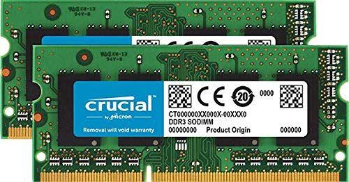 Crucial 16GB Kit 8GBx2 DDR3DDR3L 1600 MTS PC312800 Unbuffered SODIMM 204Pin Memory