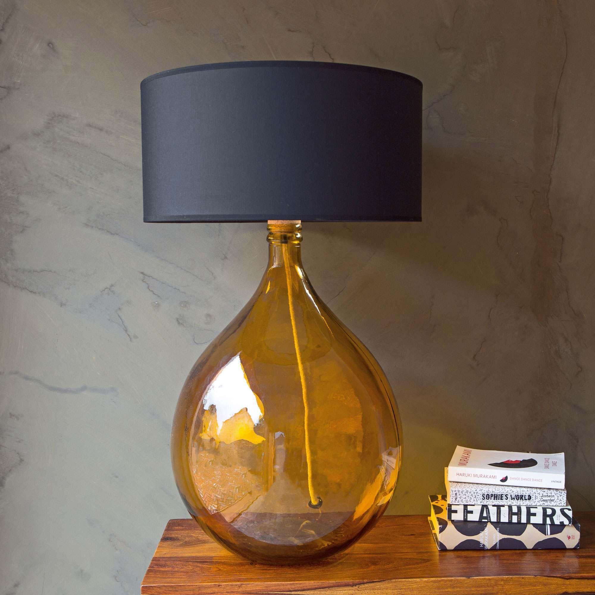 Extra Large Round Amber Glass Lamp Large Lamp Shade Glass Lamp Glass Lamp Base