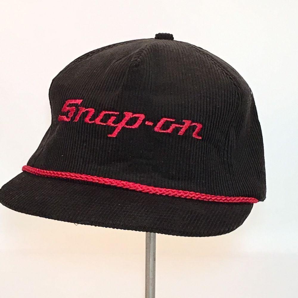 b0bd7f61 VTG SNAP-ON Tool Baseball Cap Black Corduroy Trucker Snapback Hat Logo Red  Braid #SnapOn #BaseballCap