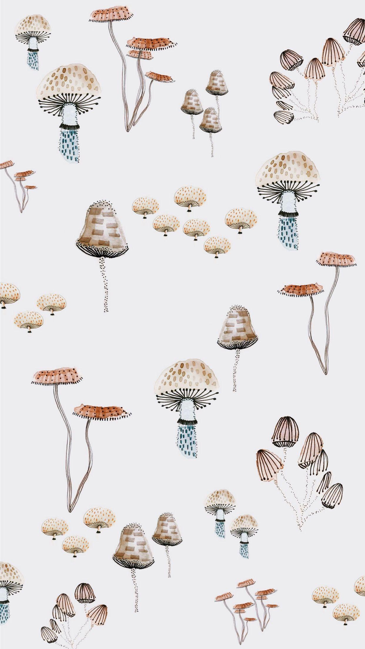 Woodland Mushroom Iphone Wallpaper By Claira Gresham Wallpaper Iphonewallpaper Mushrooms W Mushroom Wallpaper Watercolor Wallpaper Iphone Iphone Wallpaper