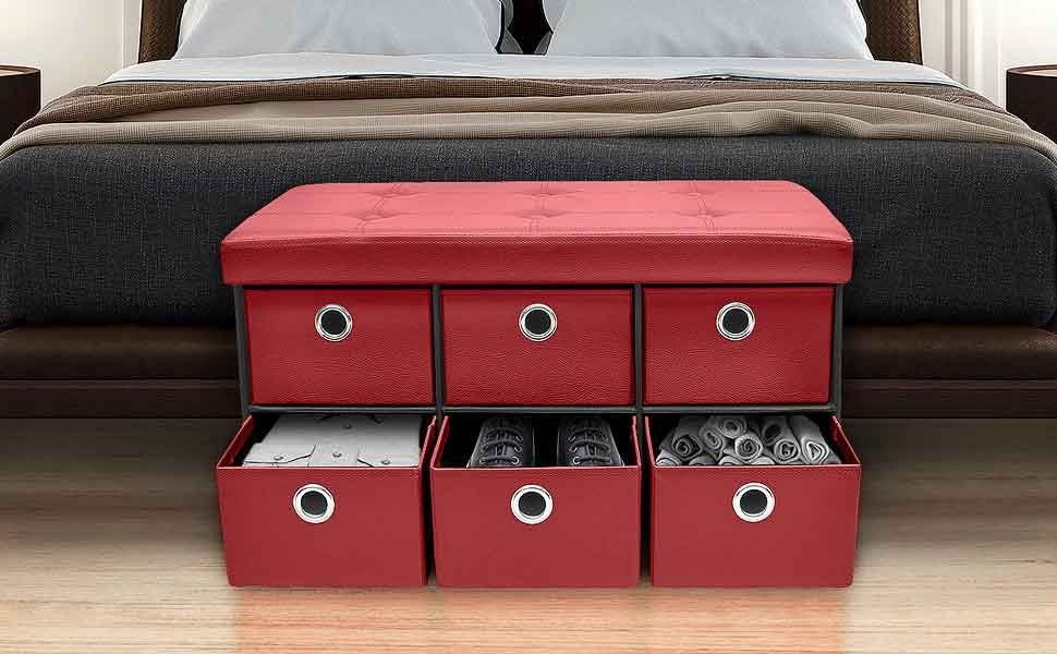 Sorbus Storage Ottoman Bench With Drawers Collapsible Folding Bench Chest With Cover Perfect For Entr Bench With Drawers Cubby Drawer Storage Ottoman Bench