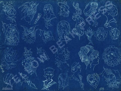 Percy Waters Blueprint Poster - Print #4 Tattoo and Tattoo flash - fresh blueprint paper color